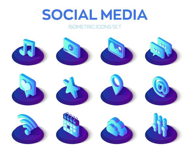 Social media apps icons set