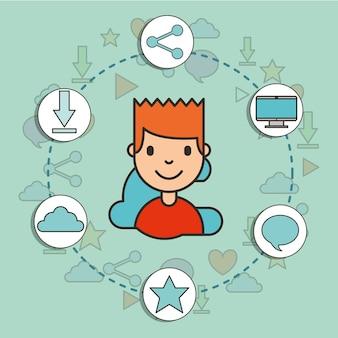 Social media around happy boy digital technology