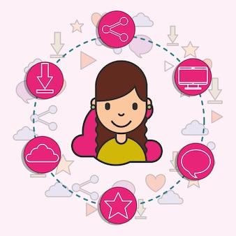 Social media around little girl network icons