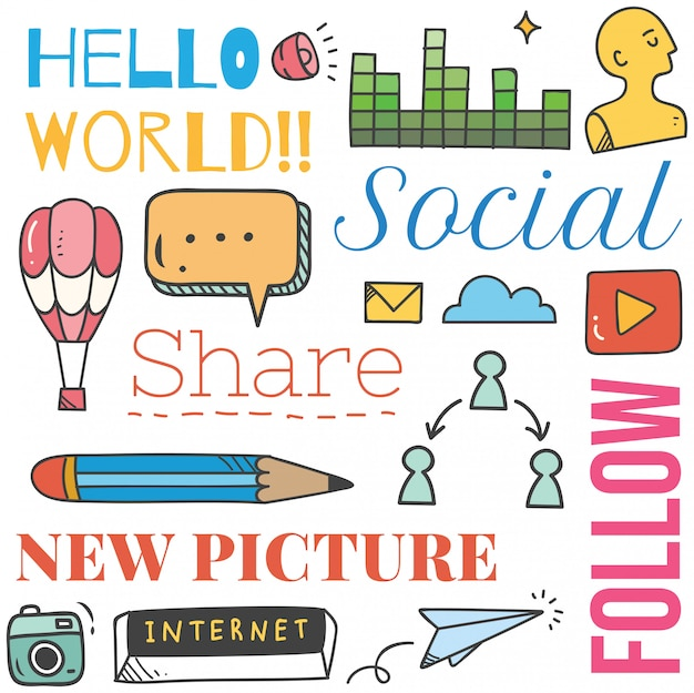 Social media background in doodle style illustration