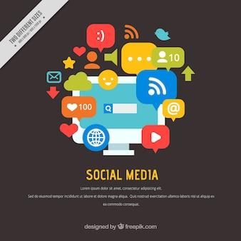 평면 디자인의 소셜 미디어 배경