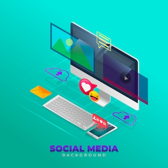 Social media background in isometric style
