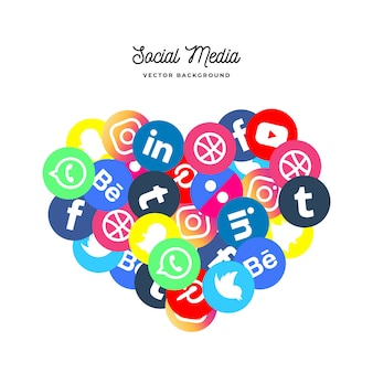 Social media background in shape of heart
