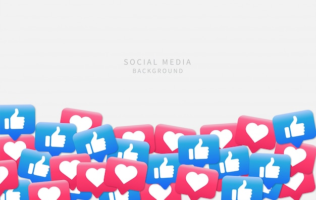 Social media background. social media notifications like icon.