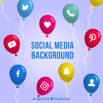 Social media background with balloons