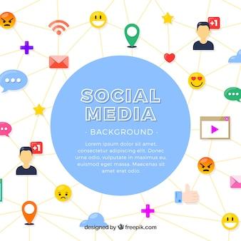 평면 디자인으로 소셜 미디어 배경