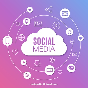 Social media background with flat design