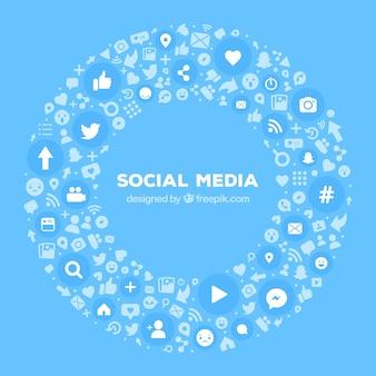 フラットデザインのソーシャルメディアの背景