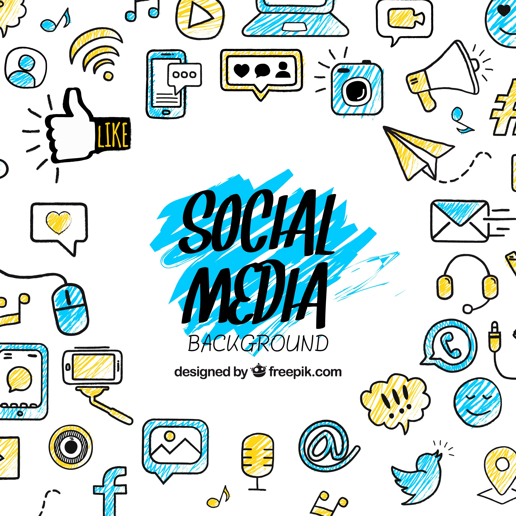 Social media background with hand drawn elements
