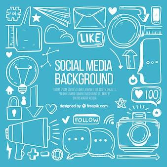 手描きの要素でソーシャルメディアの背景