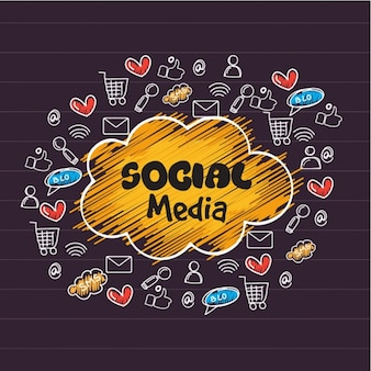 손으로 그린 아이콘으로 소셜 미디어 배경