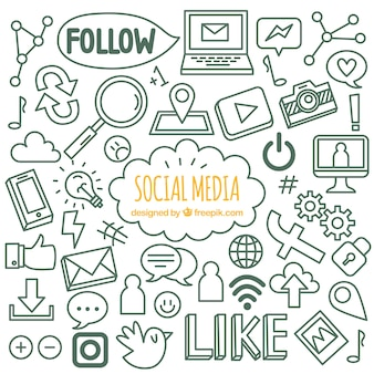 Sfondo di media sociali con stile disegnato a mano