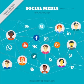 Social media background with people connected Free Vector