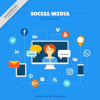 Social media background with social networks and devices