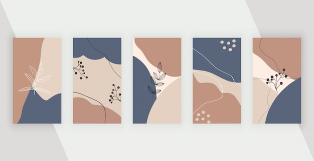 Социальные медиа фоны с абстрактным геометрическим дизайном с розовыми, коричневыми и синими цветами ручной росписью форм, листьев и линий.