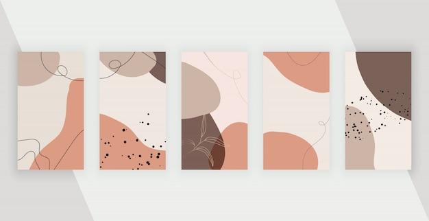 Социальные медиа-фоны с художественным рисованием от руки абстрактные формы, линии
