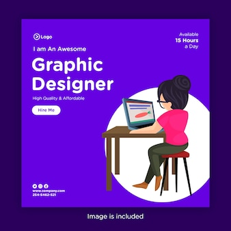 ノートパソコンで作業している女の子のソーシャルメディアバナーデザインテンプレート
