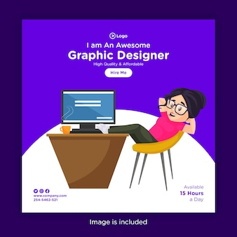 Social media banner design template with girl graphic designer sitting in a relaxing mood on a chair