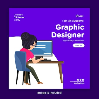 Social media banner design template with girl graphic designer working on a computer