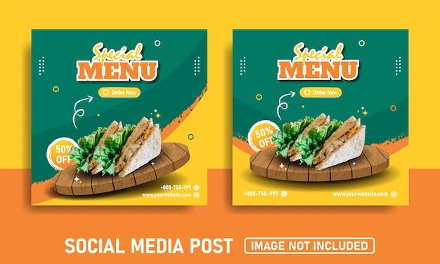 샌드위치 판매를위한 소셜 미디어 배너