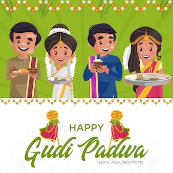 Social media banner of indian new year gudi padwa