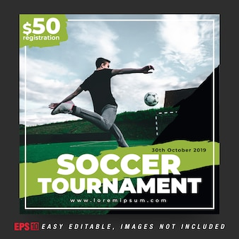 Social media banner post for soccer ball tournament in black and green combination color