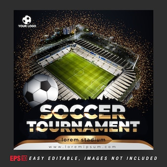 Social media banner post for soccer ball tournament with golden and black combination color