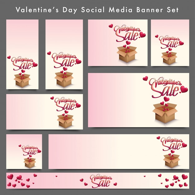 Social media banner set with hearts fly on box.