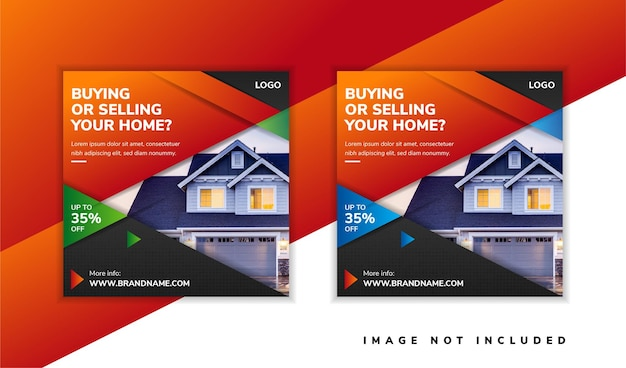 Дизайн шаблона баннера в социальных сетях для продвижения покупки и продажи вашего дома.
