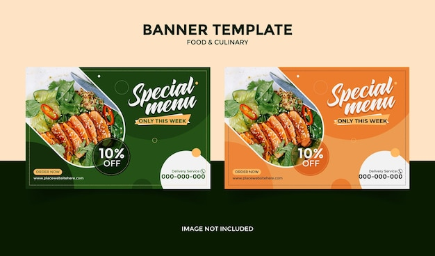 Social media banner template post for food restaurant and culinary green orange color