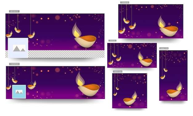 Social media banner template set with hanging illuminated oil lamp (diya) decorated on purple bokeh background for happy diwali celebration.