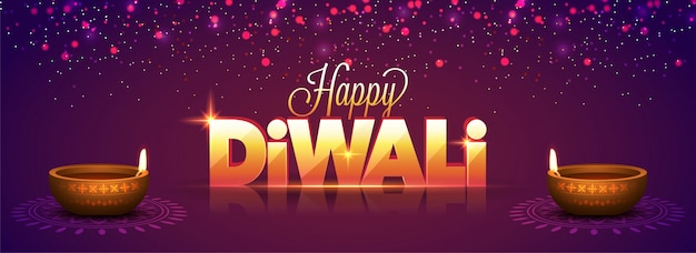 Social media banner with 3d golden text happy diwali.