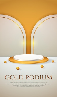 Social media banner with 3d product display gold podium