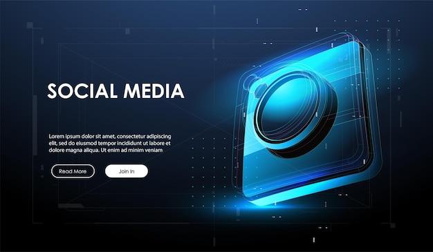 抽象的な3dカメラとソーシャルメディアバナー