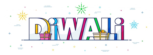 Social media banner with colorful 3d text diwali.