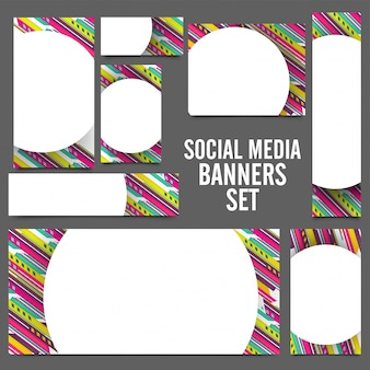 Баннеры для социальных сетей с абстрактным дизайном.