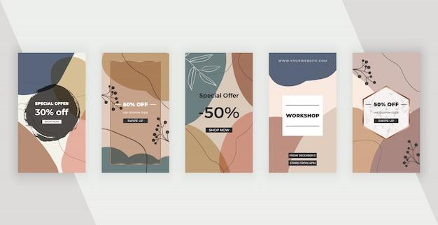 Социальные медиа баннеры с абстрактным геометрическим дизайном с розовыми, коричневыми и синими цветами ручной росписью форм, листьев и линий.