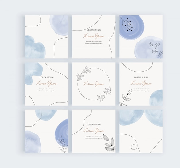 Social media banners with blue freehand geometric hand painted watercolor shapes, black lines and leaves.