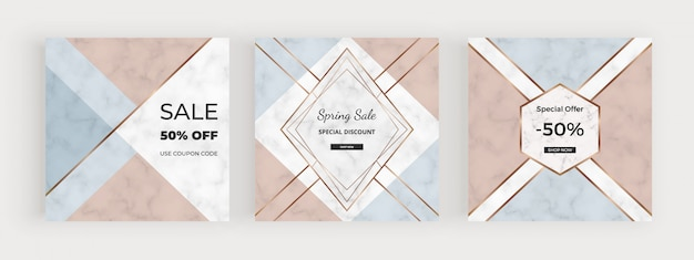 Social media banners with geometric design with pink, blue triangular shapes, golden lines.