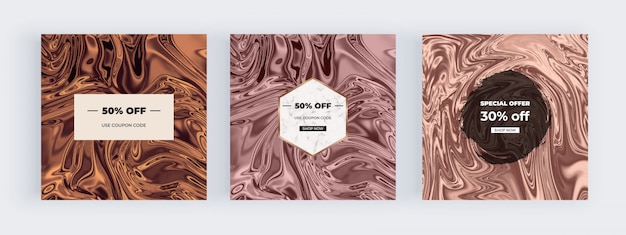 Social media banners with liquid watercolor marble texture, nude swirls ink, ripples design background.