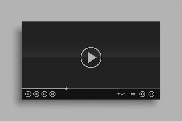 Social media black video player mockup design