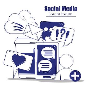 Social media blue line fill style illustration