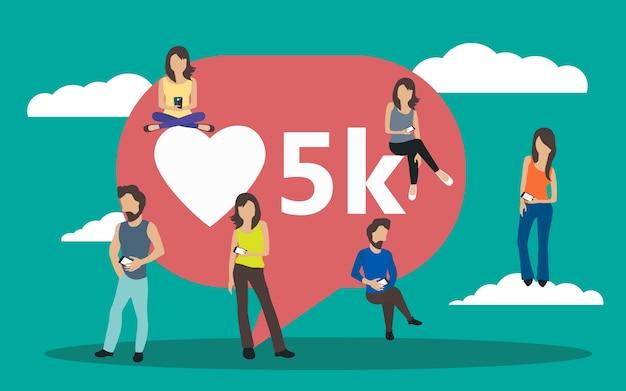 Social media bubble with heart symbol