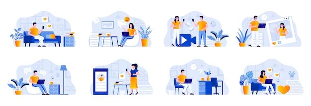 사람들이 등장하는 소셜 미디어 번들. 디지털 장치 상황과 사람들이 온라인 커뮤니케이션 및 메시징. 소셜 미디어 채팅, 블로그 및 콘텐츠 스트리밍 평면 그림