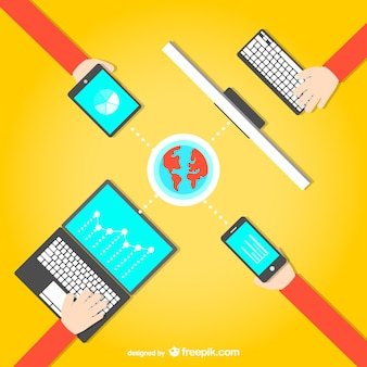 Social media business meeting Free Vector