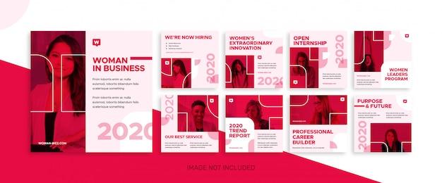 소셜 미디어 비즈니스 여성 피드 게시물 번들 키트 템플릿