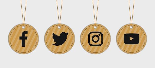 소셜 미디어 골 판지 아이콘 레이블 집합 된 컬렉션