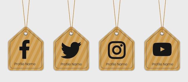 소셜 미디어 골 판지 아이콘 태그 세트