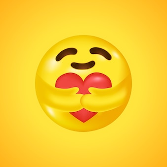 Social media care emoji hugging a heart. symbol of care and support. big smile in 3d.  .