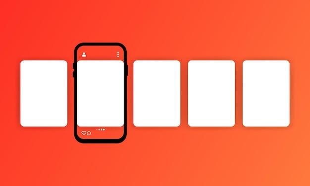 스마트 폰이있는 소셜 미디어 캐 러셀 또는 소셜 네트워크의 인터페이스 캐 러셀 게시물이있는 스마트 폰